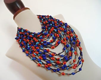 SALE :)) THE TRIBAL Queen . Show Stopping Massive Huge Chunky Czech Glass Beads Bib Statement Necklace Multi Color Bright Colorful Lagenlook