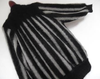 STRIPED COCOON . Art Deco 20s Style Mohair Mix Striking Black Gray Bold Stripes Jacket Cardigan Coat 70s xL xxL Plus Size