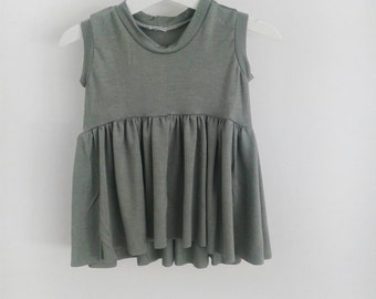 Girls ruffle top green sage baby toddler modern high lo long sleeve short sleeveless  0-3 months- 7 girls
