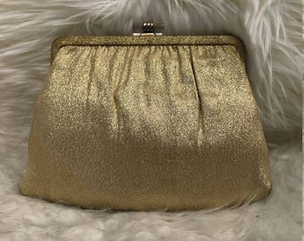 Vintage Ande' Gold Clutch with mirror