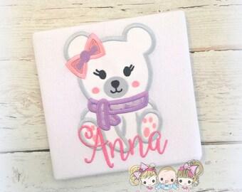 Polar bear shirt for girls - Christmas polar bear shirt - winter polar bear shirt - personalized polar bear shirt with pink and purple