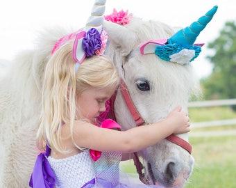 Unicorn headpiece for a PONY , horse costume, fantasy unicorn, photo prop pony, unicorn wedding, unicorn horse, unicorn horn, Pony Costume
