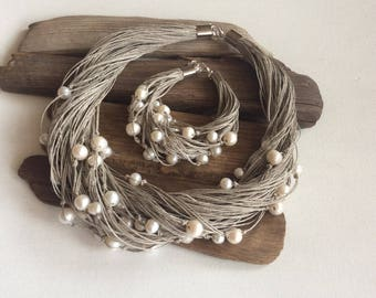 Linen Jewelry Set, Pearl and Linen Necklace, Wedding Jewelry, Linen Necklace and Bracelet, Gift for her, Anniversary Gift for Wife