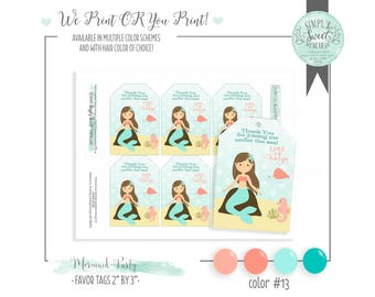 mermaid favor tags. Mermaid birthday party. Multiple hair and color schemes available. YOU print OR WE print for you