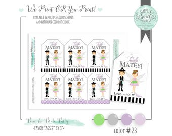 pixie & pirate favor tags. Fairy Pirate birthday party. Multiple hair and color schemes available. YOU print OR WE print for you