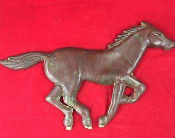 Antique Copper Horse Weathervane vintage country farm barn stable pony track cottage chic rusric figurine stallion colt saddle race