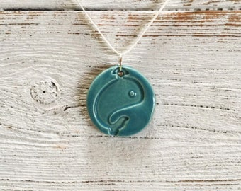 Caribbean Blue Ceramic Whale Pendant, Nautical, Ocean, Seaside, Unique Gift, Whale Jewelry, Ceramics, Handmade Jewelry