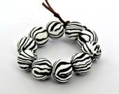 Beads, black and white beads, stripe beads, zebra print, black beads, white beads, DIY crafts, beads supplies, clay beads, round beads