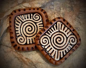 Mayan design charms/ornaments #31.....set of 2