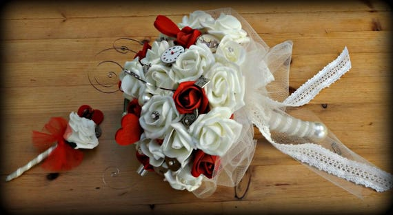 Ivory and red rose Steampunk Alice in Wonderland Bouquet