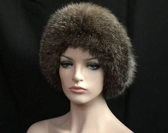 SPECIAL PRICE Russian Women's Roller Mongolka Hat BLACK Leather Top Grey Fox Fur Women Rh3 Arctic Store®