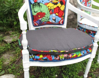DIY Superhero chair Marvel comic paint it yourself custom chair kit ready for your personal touch