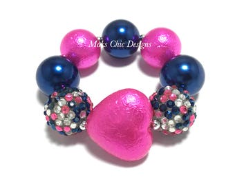 Toddler or Girls Hot Pink and Navy Blue Heart Chunky Bracelet - Confetti Chunky bracelet - Pink Heart Bracelet - Navy Valentines Bracelet