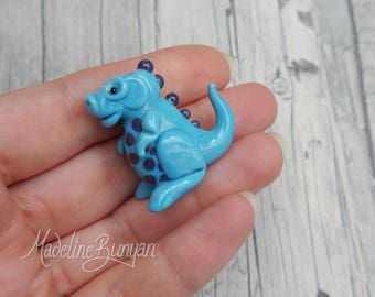 Cute Baby Dinosaur - Sculpted Lampwork Bead Focal, turquoise and purple