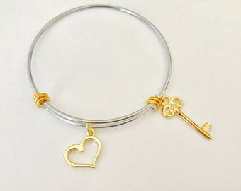 Heart and Key Bracelet, stainless steel bangle, mixed metals, Valentine Gift