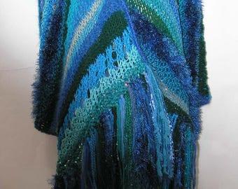 Knitted Shawl // Blue Shawl with Fringe // Freeform Shawl