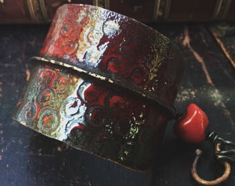 Red enamel tribal bracelet | fold-formed copper enamel cuff, rustic bracelet, rustic boho bracelet, copper cuff, copper bracelet