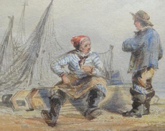 1800's Watercolor Paintings,  Thomas Shotter Boys (1803–1874) English Watercolor Artist,  Fisherman Seascape with Ships and Sailors