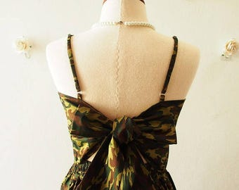 Mid Year SALE Crop Top and Skirt Set Camo Green Summer Party Style Fashion Special Occasion Backless Self-Tied Bow Vintage Style -S-M