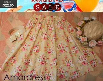 Mid Year SALE Floral skirt - Midi Skirt - Beach Garden Summer Skirt - Vintage Inspired - Shabby Chic - Swing Skirt - Alice in Wonderland -
