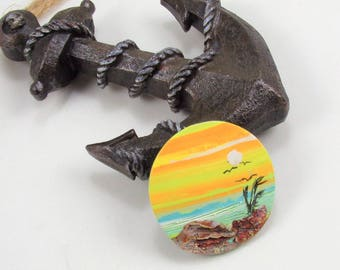 StudioStJames-Artisan Crafted Polymer Clay 34mm Focal Pendant or Cabochon-Coastal Beach Scene-Harvest Moon-Yellow Brown-PA 100790