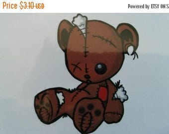 Etsy On Sale Tattered Teddy Bear Tattoo, Tattoo Size 2X2.5 inch, Enter if You Bear, New, In Original Package, Very Cute, Halloween Temporary