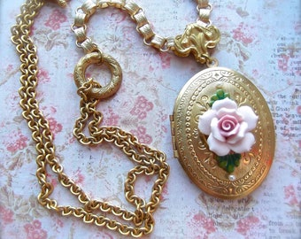 Extra Large Locket, Locket Pendant, Vintage Locket, Locket with Rose, Pink Rose Locket, Bookchain, Adjustable Locket, Golden Locket, Brass