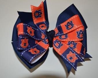 Simple Auburn Tigers Hair Bow