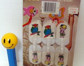 1982 Flintstones Bamm Bamm Hooks, Set of 6 Plastic Self Adhesive Hooks, New Old Stock, Owl Hooks, Vintage Hooks, Retro Self Stick Hooks,