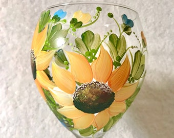 Sunflowers hand painted on a single wine glass free shipping personalizable