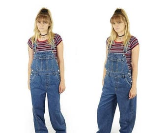 ON SALE Denim 90s Baggy Overalls, 90s Grunge, Vintage Dungarees, 90s Long Denim Overall Jeans, Women's Size Medium