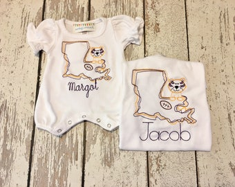 LSU  baby romper, Tigers Purple and Gold boys romper, LSU tigers boy shirt, LSU Tigers purple gold baby outfit