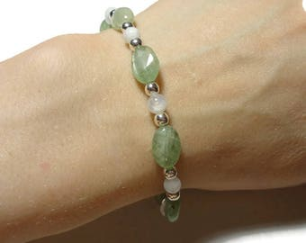 green kyanite moonstone stretch energy bracelet fits 7 inch wrist