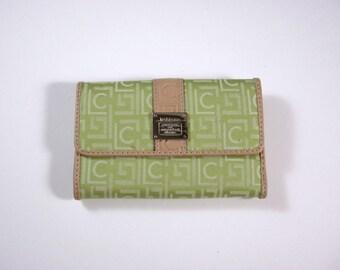 Liz Claiborne Lime Signature Jacquard Tri fold Wallet w/ flap and back zip coin pocket / designer hardware