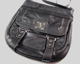 Black Faux Leather Crossbody Shoulder Bag /  Messenger Bag Courier Pouch Style / Nine West