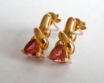 Beautiful Vintage 9ct Gold Earrings, Pink Morganite Gem Stones, 9K Gold Jewellery