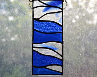 Stained Glass Panel Suncatcher Frozen Blue Lake Blue And Clear Glass by jacquiesummer