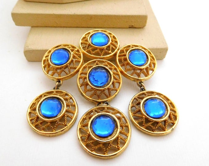 Featured listing image: Vintage Large Royal Blue Gold Tone Open Circle Charm Statement Brooch Pin I32