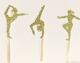 12 Gymnast Cupcake Toppers | Gymnastics | Glitter | 2 3/4""