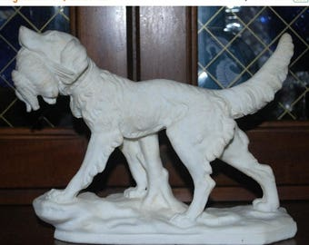weekend sale dog with duck sculpture rare  white   hunting dog  salt clay,sculpture hunting lodge decor
