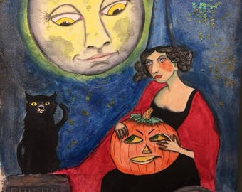 ORIGINAL SMALL 7x10 inch Halloween Vintage Man in the Moon Painting on paper // moon man, witch, pumpkin, black cat, blue