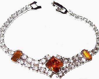 "Citrine Rhinestone Link Bracelet Clear Princess Cut Silver Metal 7"" Vintage"