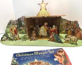 Vintage George Hinke Christmas Manger Scene Cardboard Die Cut Litho Nativity Creche Stable 1940s 3D Set NEAR COMPLETE w/ Original Box Good