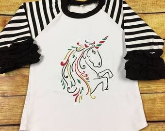 Girls Christmas Unicorn Ruffle Raglan