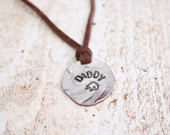 Father's Day Gift, Daddy Bear Necklace,Papa Bear Necklace,,gift for fisherman,grandfather gift,men's jewelry,name necklace