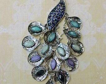 Unusual and Beautifrul Jeweled Peacock Pendant