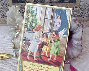 Charming Edwardian Era Christmas Postcard-Little Angels Placing Gifts Under Tree
