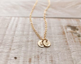 TWO Initial Necklace, 14K Gold Filled TINY 2 initial Necklace, Couples Necklace, Friendship necklace, Personalized Gift, Mothers Necklace