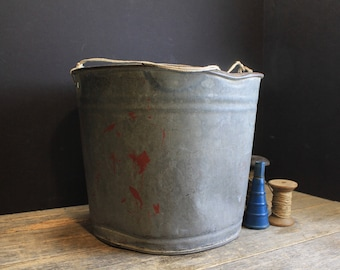 Vintage Rusty Galvanized Bucket With String Handle and Punched Hole Bottom // Old Rustic Farm House Pail // Primitive Aged patina