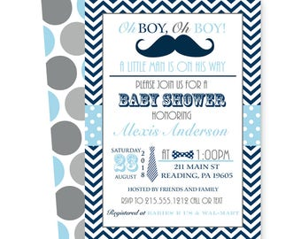 Mustache Baby Shower Invitation for Boys Navy and Grey with Chevron Stripes and Polka-Dots Little Man Party Printable or Printed Paper Goods